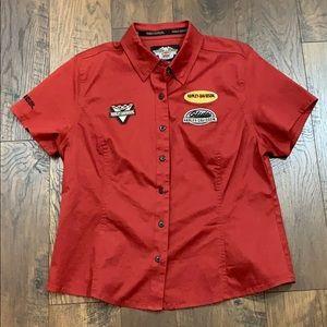 Harley Davidson maroon uniform style shirt